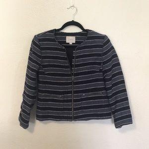Ann Taylor Loft striped tweed jacket